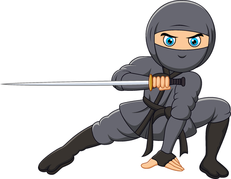 Vector illustration of Cartoon ninja holding a sword