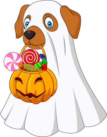 Vector illustration of Halloween costume dog holding pumpkin bag full candy Illustration