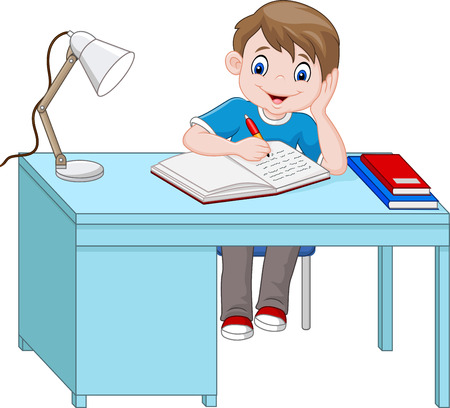 Vector illustration of Cartoon little boy studying Illustration