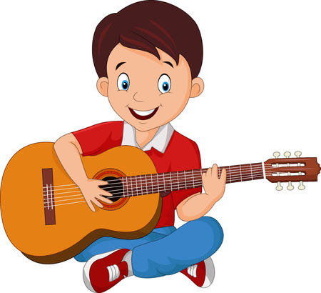 Vector illustration of Cartoon boy playing guitar Çizim