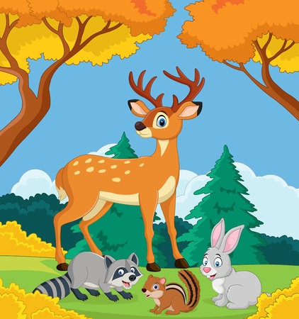 Vector illustration of Cartoon wild animals in the jungle
