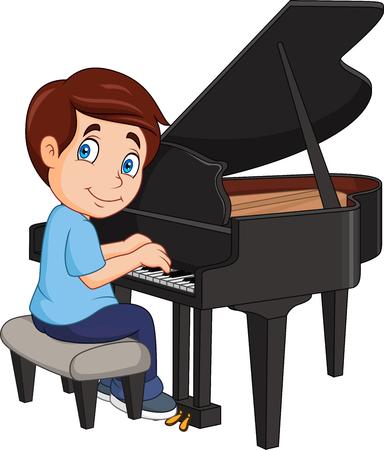 Vectorillustratie van Cartoon jongetje piano spelen