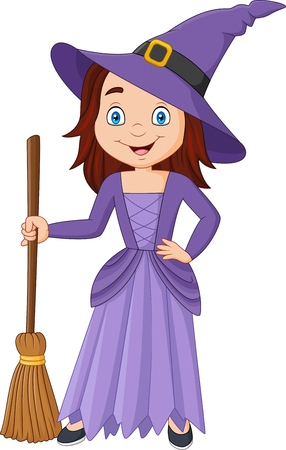 Vector illustration of Cartoon little witch holding broomstick