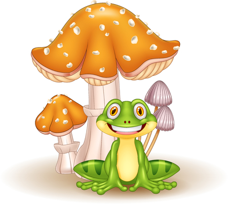 Vector illustration of Cartoon funny frog with mushrooms