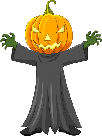 Vector illustration of Cartoon Halloween pumpkin