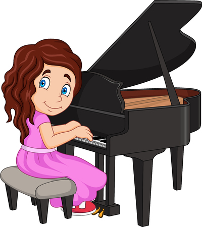 Vector illustration of Cartoon little girl playing piano