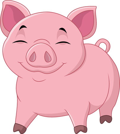 Vector illustration of Cartoon happy pig isolated on white background