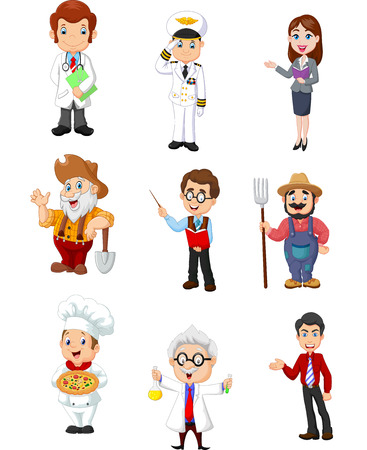 Vector illustration of Group of people with different professions on a white background Illustration