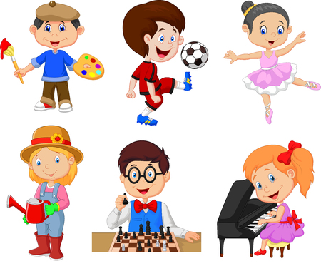 Vector illustration of Cartoon kids with different hobbies on a white background