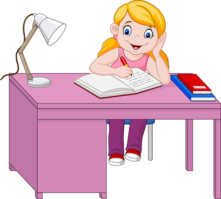 Vector illustration of Cartoon little girl studying