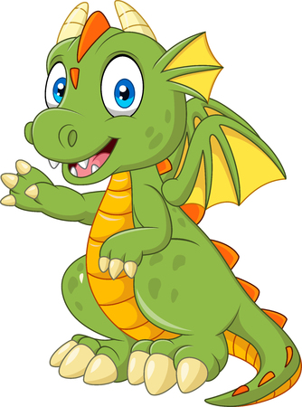 Vector illustration of Cartoon baby dragon presenting