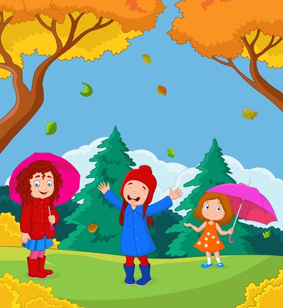 Vector illustration of Cartoon happy kid playing with autumn background Illustration
