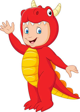 Vector illustration of Cartoon kid with Halloween dragon costume