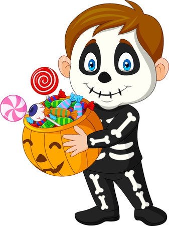 Vector illustration of Cartoon kid with skeleton costume holding pumpkin bag full candy Illustration