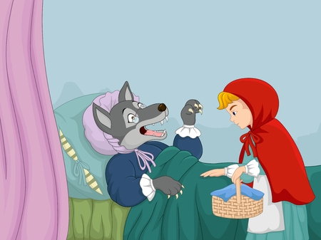Cartoon little red riding hood and wolf Vectores