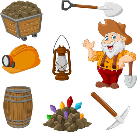 Cartoon miner tools collection set