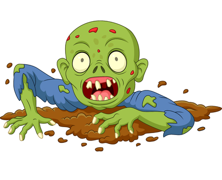 Cartoon zombie out of the ground isolated on white background