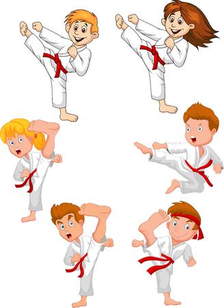 Cartoon little kid training karate collection