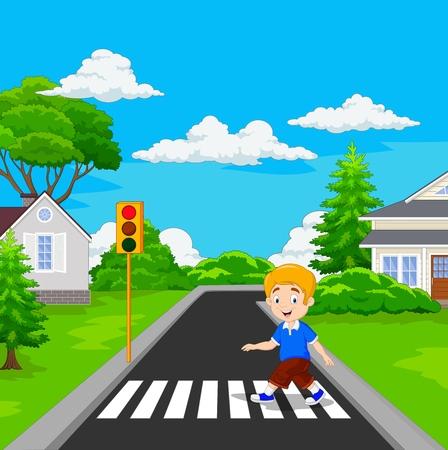 Cartoon boy walking across the crosswalk