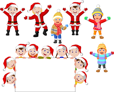 Cartoon Christmas children with blank sign