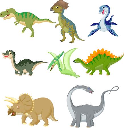 Cartoon dinosaurs collection set Illustration