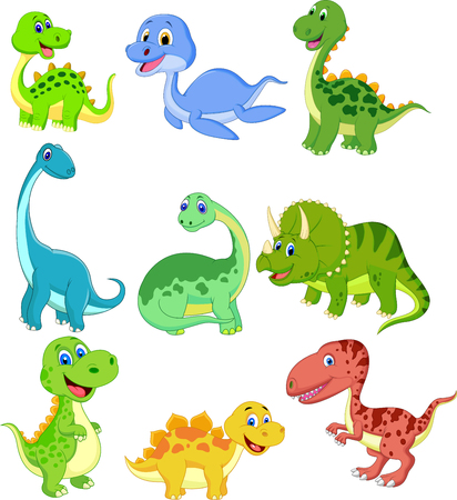 Cartoon dinosaurs collection set Vectores
