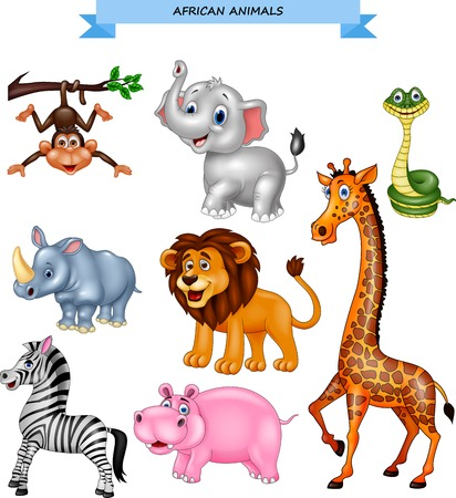 Cartoon African animals collection Illustration