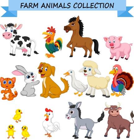 Collezione di animali della fattoria dei cartoni animati Vettoriali
