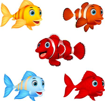 Conjunto de colección de peces de dibujos animados Ilustración de vector