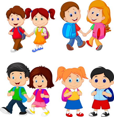 Cartoon school children with backpacks Stock Illustratie