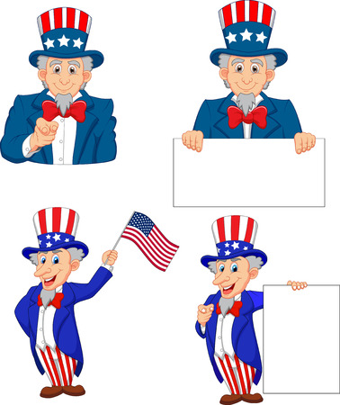 Cartoon of uncle Sam collection set Illustration