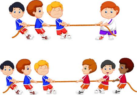Kreskówka grupa dzieci bawiących się w przeciąganie liny Ilustracje wektorowe