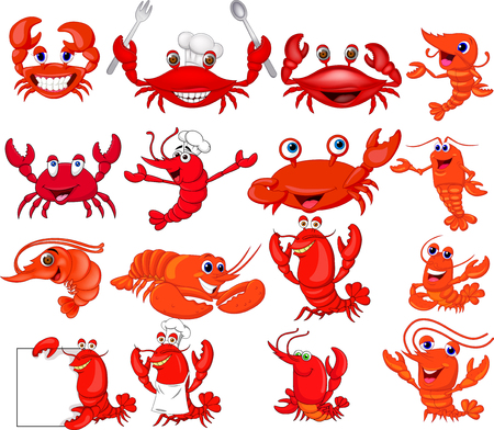 Cartoon shrimp and crab collection set Standard-Bild - 111518755