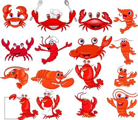 Conjunto de colección de camarones y cangrejos de dibujos animados