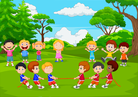 Vector illustration of Cartoon group of children playing tug of war in the park