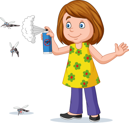 Vector illustration of Cartoon girl spraying a mosquito