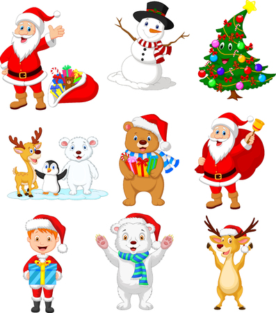Vector illustration of Cartoon Santa Claus with many animals collection set