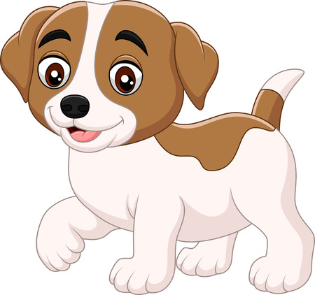 Vector illustration of Cute little dog cartoon isolated on white background