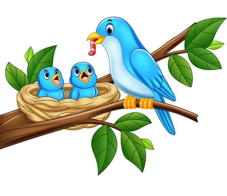 Ilustración de vector de pájaro azul madre alimentando a bebés en un nido