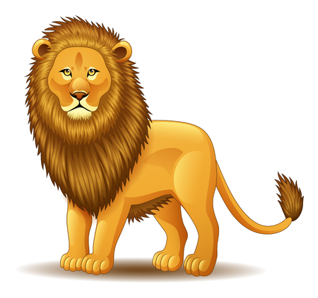 Vector illustration of Cartoon Lion king isolated on white background Illustration