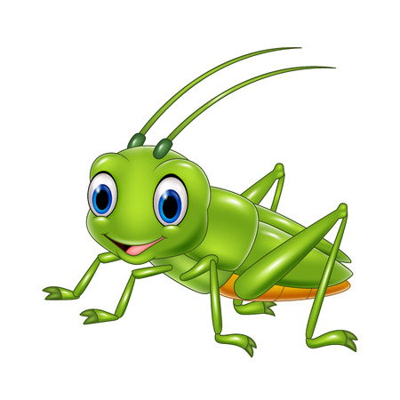 Vector illustration of Cartoon happy grasshopper