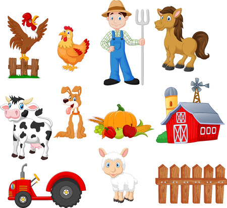 Vector illustration of Set of farming cartoon with farmer, tractor, barn, animals, fruits and vegetables