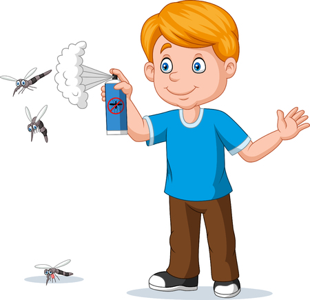 Cartoon boy spraying insect killer to mosquitoes