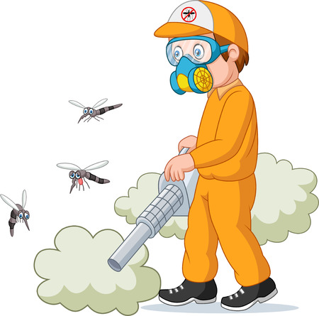 Exterminator man killing a mosquito Illustration