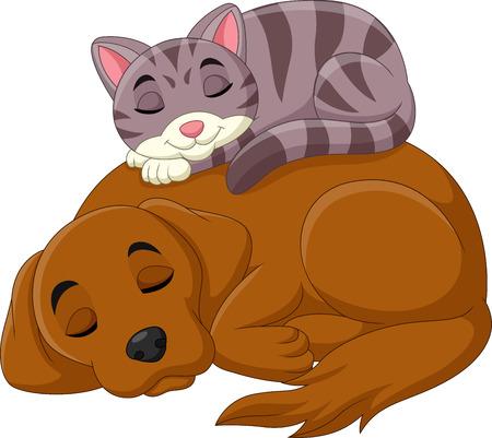 Cartoon cat and dog sleeping