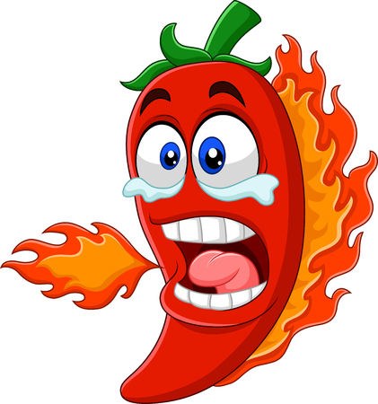 Cartoon chili pepper breathing fire