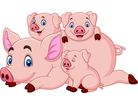 Cartoon happy pig mother with piglets Illustration
