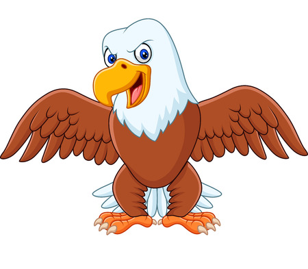 Cartoon bald eagle with wings extended