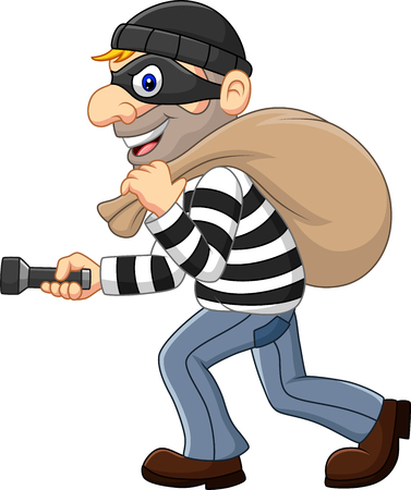 Vector illustration of Cartoon Thief walking and carrying a bag with flashlight