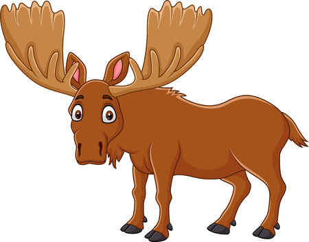 Vector illustration of Cartoon happy moose with big horns